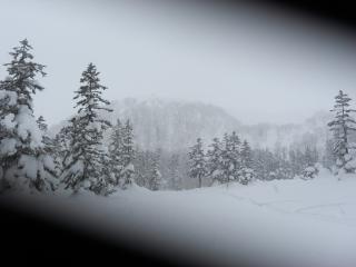 コースから旭岳をを臨む