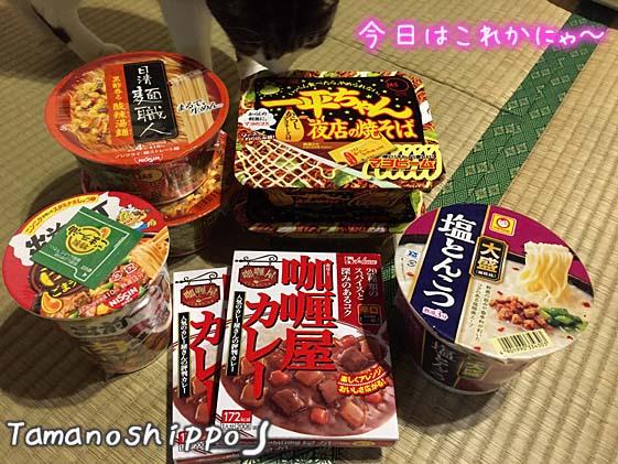 カップらー麺と猫(ちび)