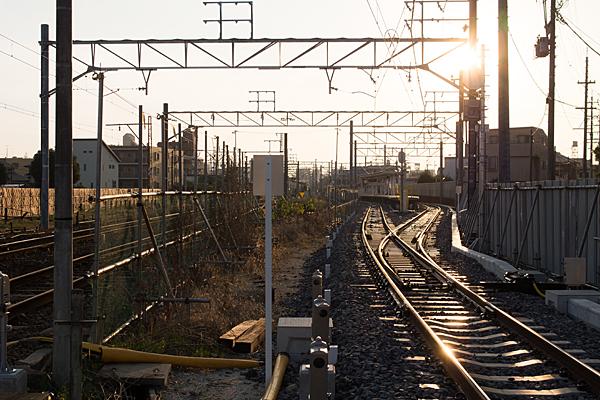 喜多山駅仮ホームと線路