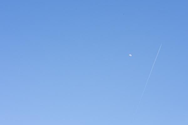 飛行機雲と月