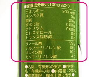 ヘンプキッチン 有機麻の実油(ヘンプオイル)の栄養バランス