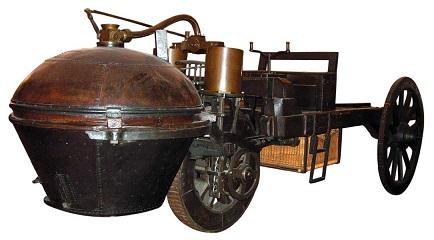 フランス陸軍の技術大尉が1760~70年代に開発したキュニョーの砲車のレプリカ