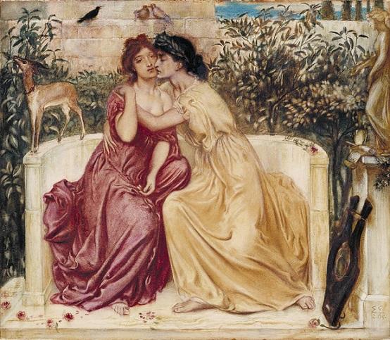 シメオン・ソロモン 『ミティリニの庭園のサッファーとエリンナ』 1864年