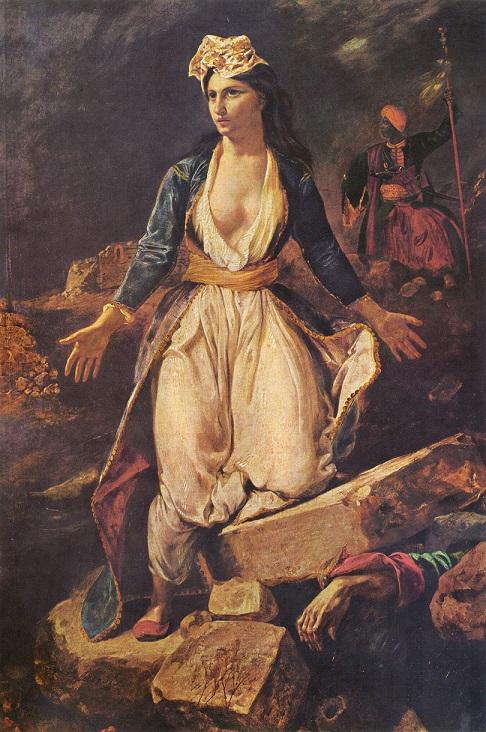 ウジェーヌ・ドラクロワ『ミソロンギの廃墟に立つギリシア』1826年