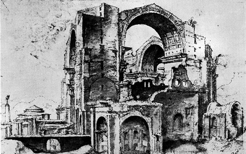 工事中のサン・ピエトロ大聖堂のスケッチ(1532-36年頃)