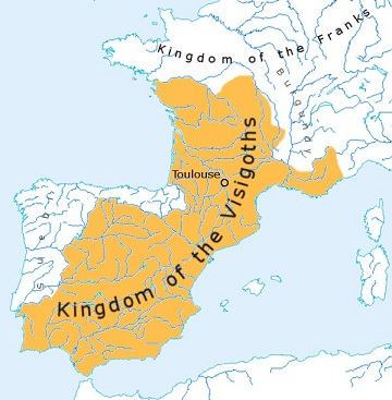 500年頃の西ゴート王国の領域
