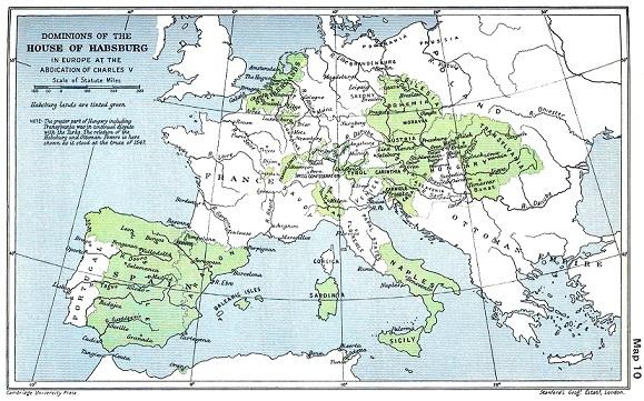 1547年時点でのハプスブルク家の領土
