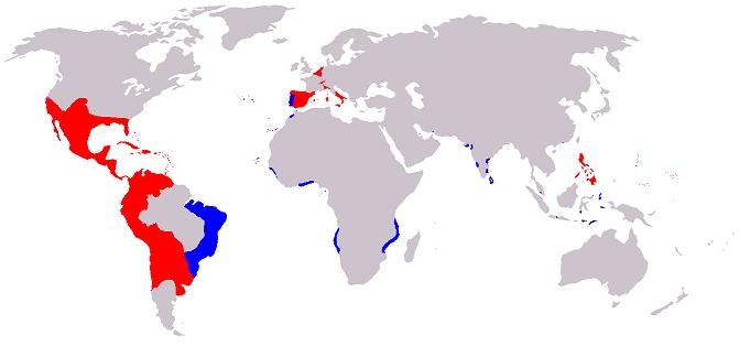 黄金の世紀と呼ばれたスペイン・ハプスブルク朝のころにおけるスペイン帝国(赤はスペイン王国、青はポルトガル王国)の領土、植民地、属領(1580年 - 1640年)