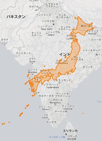 日本 インド 地図