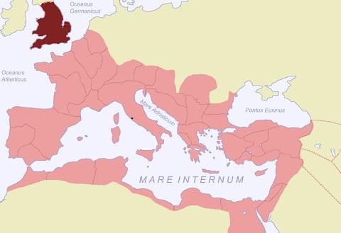 ローマ帝国の領土(茶色がブリタニアの領域)