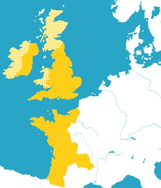 1172年頃のアンジュー帝国の版図