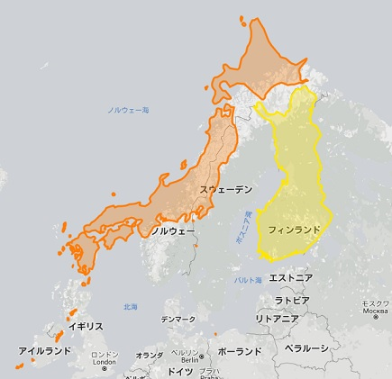 日本 フィンランド 地図