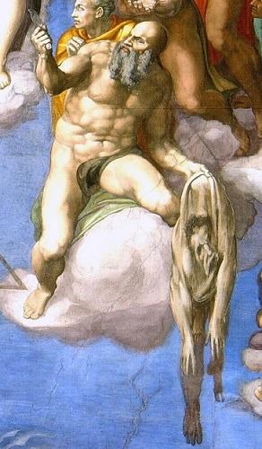 「最後の審判」に描かれたバルトロマイ。剥がされた自身の皮を持っている。皮に描かれた顔は、ミケランジェロの自画像である。