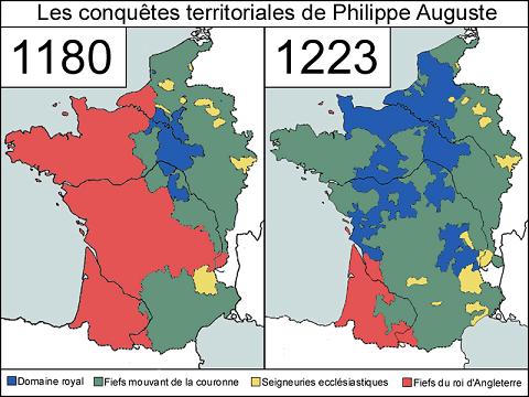 1180年と1223年のフランスにおけるプランタジネット家の版図(赤)とフランス王領(青)、諸侯領(緑)、教会領(黄)