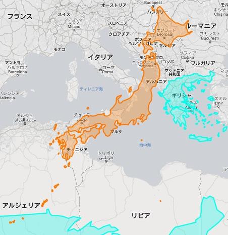日本 ギリシャ 地図