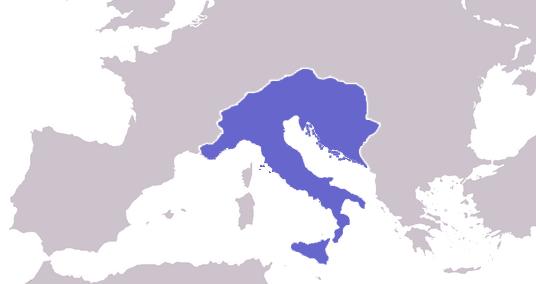 西ローマ帝国の廃墟の中から振興した東ゴート王国の領地