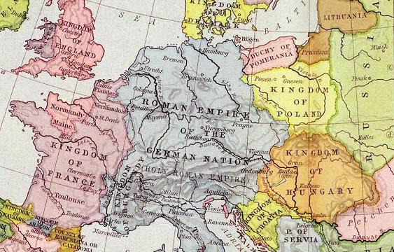 1097年の中央ヨーロッパ、黄色がポーランド王国