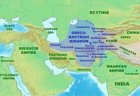 紀元前180年頃のグレコ・バクトリア王国領域