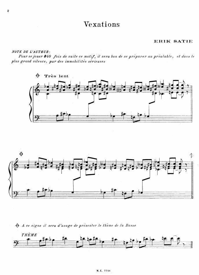 ヴェクサシオン エリック・サティー 楽譜