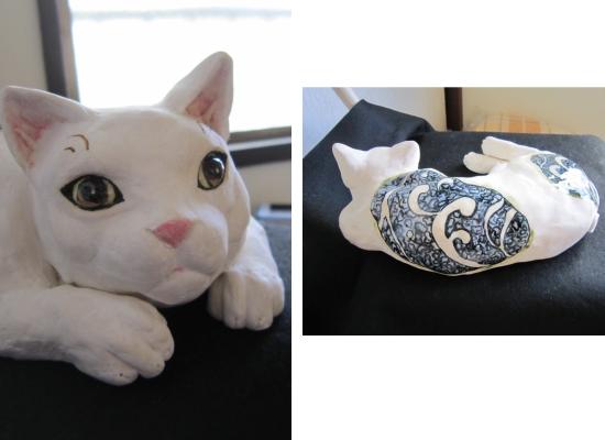 波模様の寝猫 陶器 2