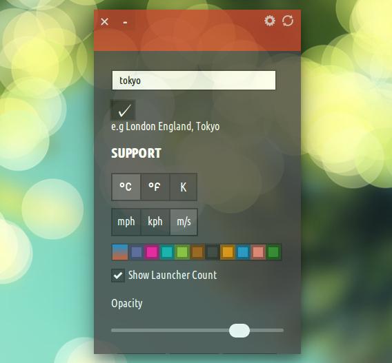 Cumulus Ubuntu 天気アプリ オプション