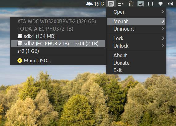 Disk Indicator Ubuntu ドライブ マウント インジケーター