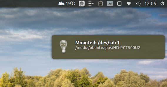 Disk Indicator Ubuntu マウントの通知